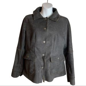 CAbi #335 Faux Suede Shearling Jacket Size Small